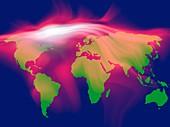 Global carbon dioxide levels, conceptual image