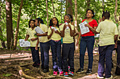 Students on nature trail, Detroit, USA