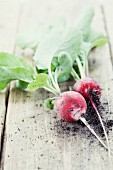 Radishes with leaves on wooden background