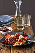 Tomato risotto with shallots in balsamic