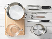 Kitchen utensils for making potato and vegetable soup