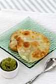 Indian flatbread with pea cream