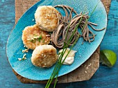Japanese pollock burgers with ginger mayonnaise and soba noodles