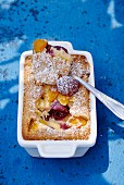 Clafoutis with apricots and cherries