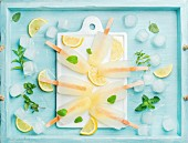 Lemon ice lollies on white ceramic board served with lemon slices, ice cubes and mint leaves