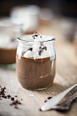 Chocolate Pot De Crème in Vintage Glass Jar