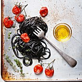 Black spaghetti with tomato sauce