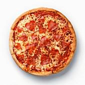 Heart shape sliced Pepperoni Pizza on white background