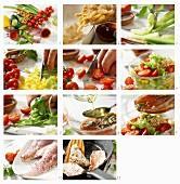 Nudel-Gemüse-Salat mit gebratenen Rotbarbenfilets zubereiten