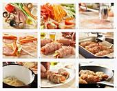 Hähnchenrouladen mit Gemüse und Sesam auf Reis zubereiten