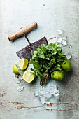 Ingredients for making mojitos: Ice cubes, mint leaves and lime on blue background