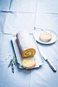 Sponge roll with pumpkin