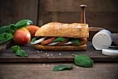 Ciabatta mit Basilikum, Balsamico, Tomaten und veganem Mozarella