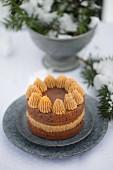 Wintery peanut butter cake