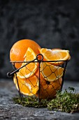Oranges in a wire basket