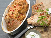 Veal meatloaf with peppers and herb quark
