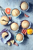 Olive oil muffins with thyme and blood oranges