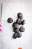 Black licorice macarons