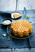 Pumpkin waffles with dip