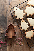 Christmas tree shaped biscuits cooling on a wire rack with the copper cookie cutter and bakers twine on a rustic wooden surface