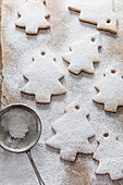 Seven tree shaped biscuits dusted in icing sugar from a vinatge mini sifter on brown baking paper