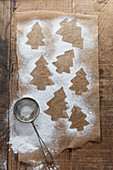 Tree shape biscuit outlines made from icing sugar left on brown baking paper with mini sifter on a rustic wooden surface