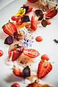 Smoked swordfish with strawberries and tomatoes