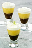 Chocolate orange layer dessert with vanilla foam