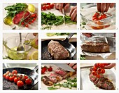 Rump steak with tomatoes and rocket being made