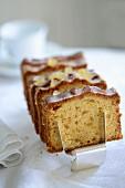 Lemon cake with a sugar glaze, sliced