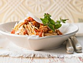Spaghetti with mushroom bolognese and fennel
