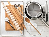 Various kitchen utensils for making ravioli