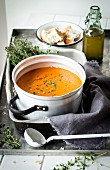 Tomato soup with thyme and rosemary