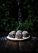 A plate of spiced chocolate brownie rum balls rolled in coconut flakes