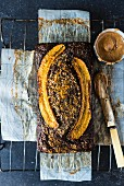 Chocolate banana bread on baking paper