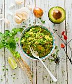 Guacamole mit Zutaten