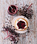 Elderberry jam on crème fraiche buns
