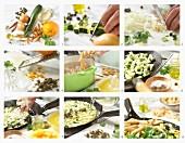 Penne mit Zucchini und Kapern in Orangen-Basilikum-Sauce zubereiten