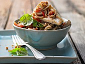 Spaghetti with red mullet fillet, tomatoes and chilli breadcrumbs