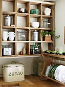 Wooden shelving unit and draining rack
