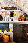 Rustic brick-vaulted kitchen decorated with lemons