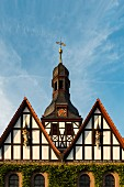 A half-timbered façade of the Church of St. Martin in Mackenrode in the district of Eichsfeld in Thuringia, Germany