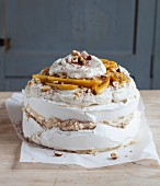 Tiramisu pavlova with bananas