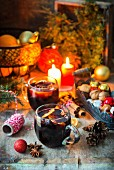 Mulled wine on a festively set table