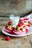 Raspberry muffins and a glass of milk