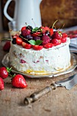 Vanilla sponge with whipped cream and fruit