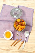 Pumpkin chutney with apricot jam, turmeric and red onion