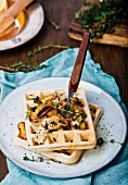 Waffles with mushrooms and thyme