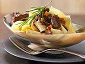 Pappardelle with venison ragout and vegetables