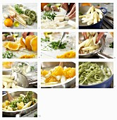 Green tagliatelle with white asparagus and orange fillets being made